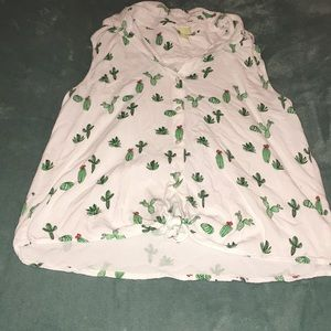 A beautiful cactus button down sleeve less shirt
